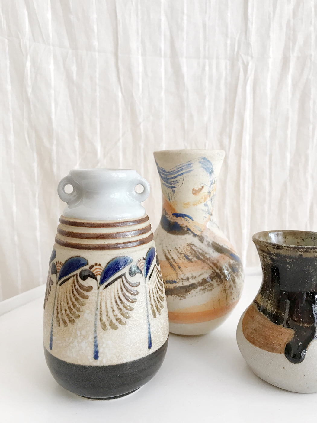 Set of Three Pottery Vases