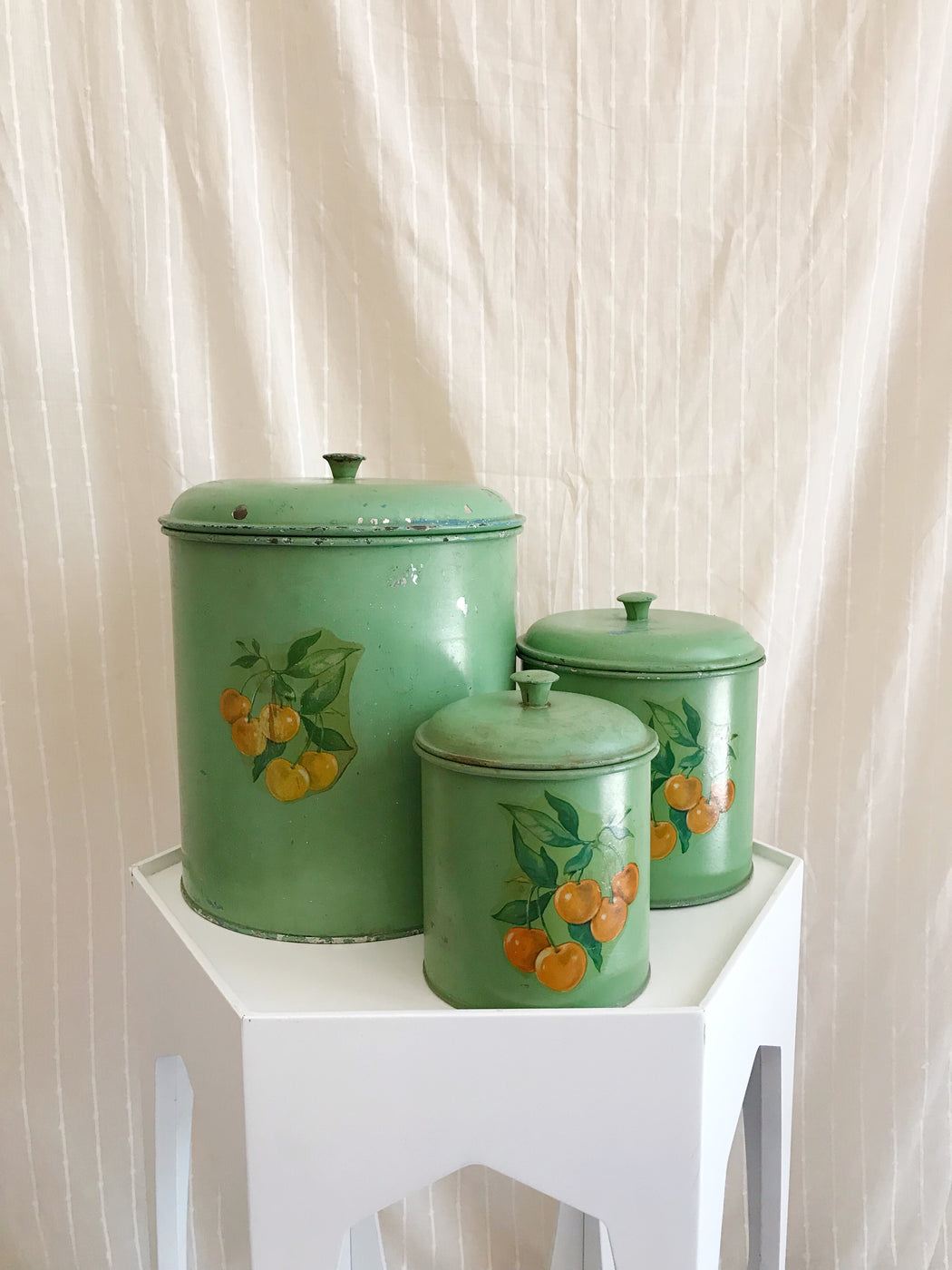 Set of Three  Vintage Green Canisters