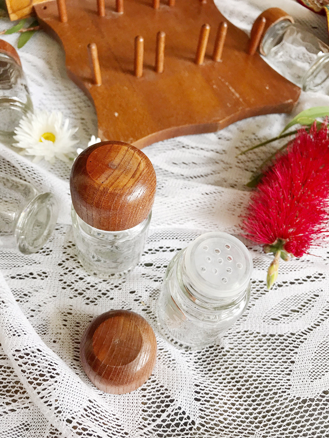 Wooden Spice Rack with Jars
