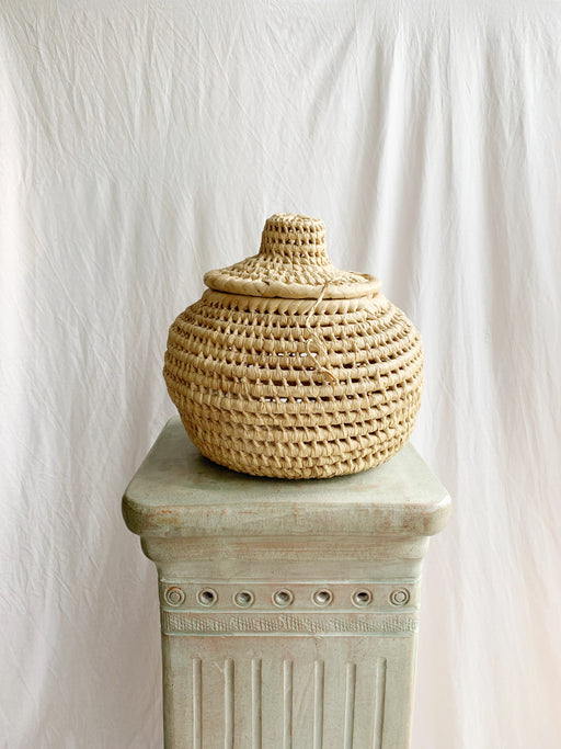 Woven Wicker Lidded Basket