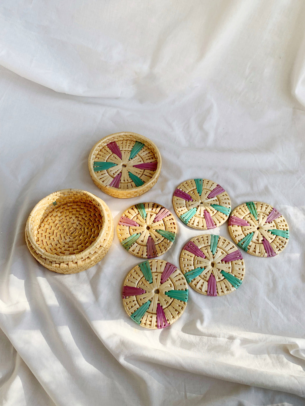 Set of Five Seagrass Coasters in Round Lidded Box | Storytellers Workshop