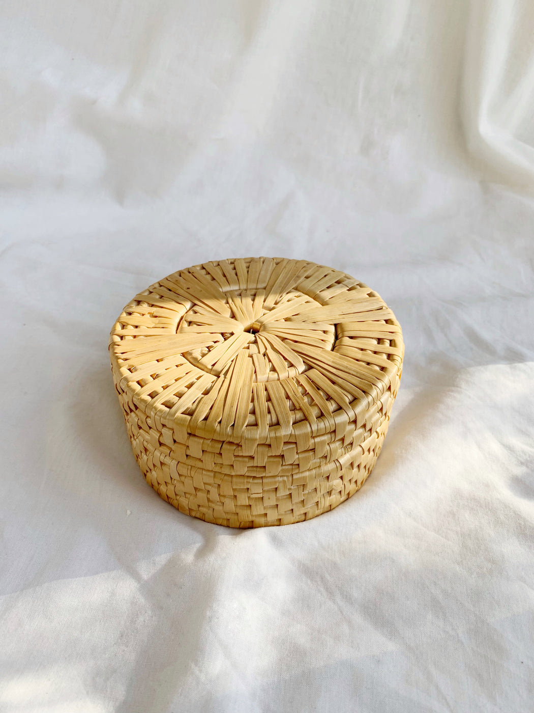 Set of Five Seagrass Coasters in Round Lidded Box