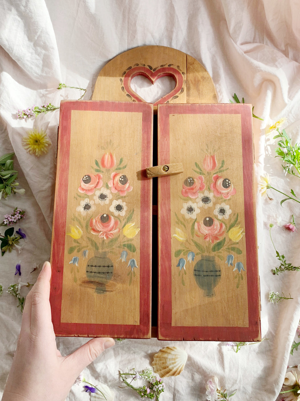 Hand Painted Small Wooden Cabinet