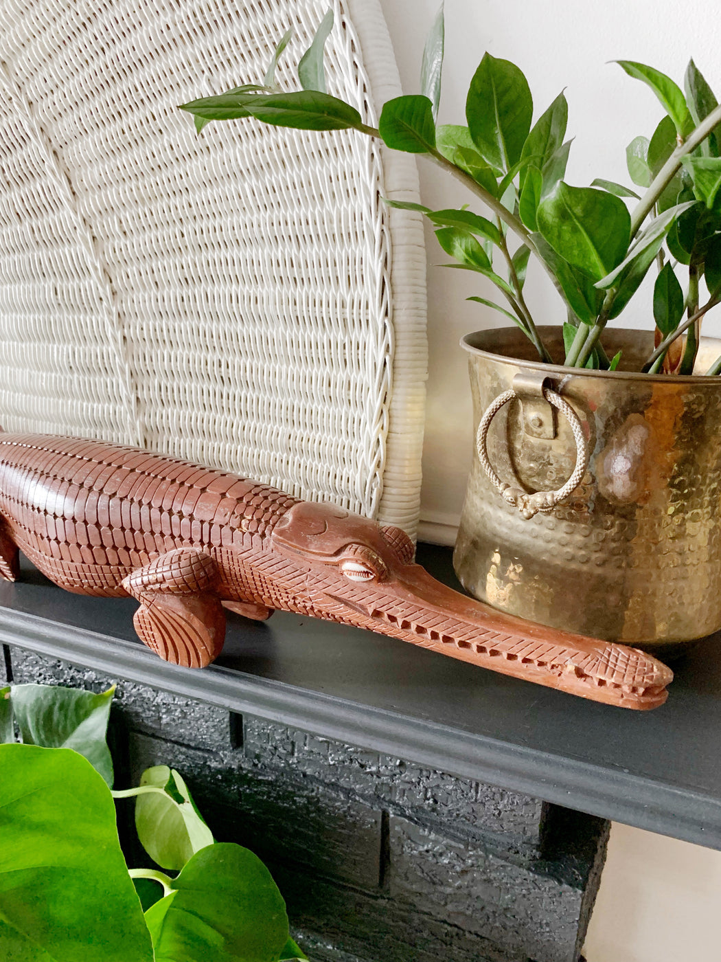 Large Carved Wooden Crocodile