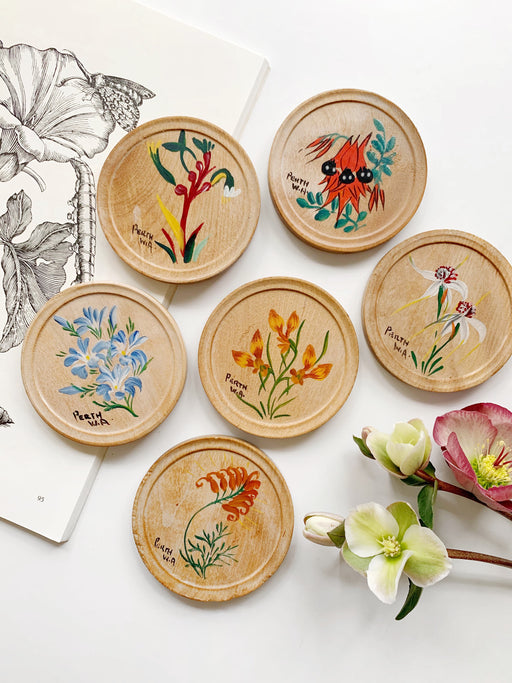 Set of Six Wooden Australian Native Flower Coasters