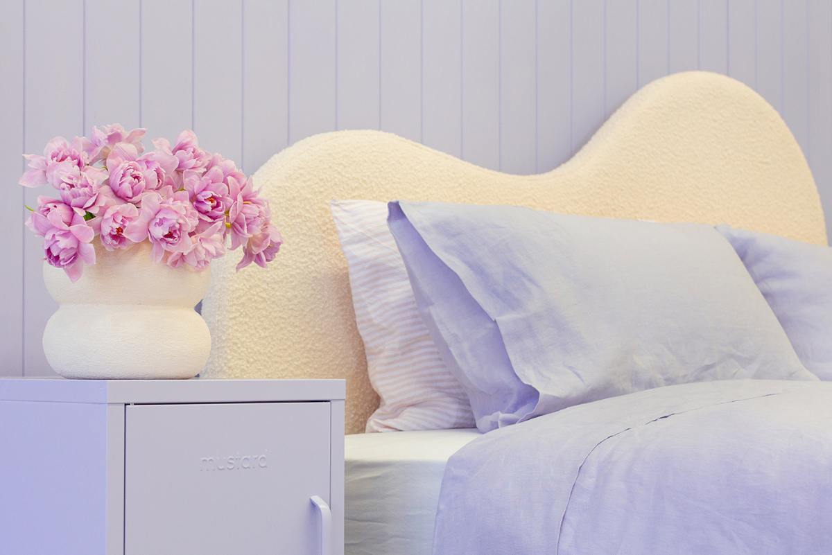 Styled Kip + Co bed in lilac with Lilac Shorty locker either side - close up