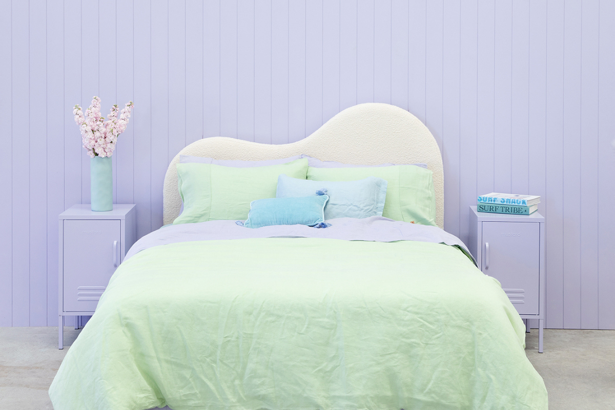 Styled Kip + Co bed in mint green with Lilac Shorty locker either side