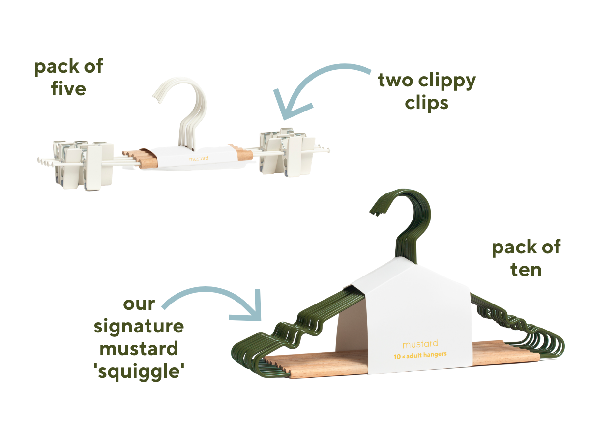 Image of two packs of hangers with arrows pointing to features