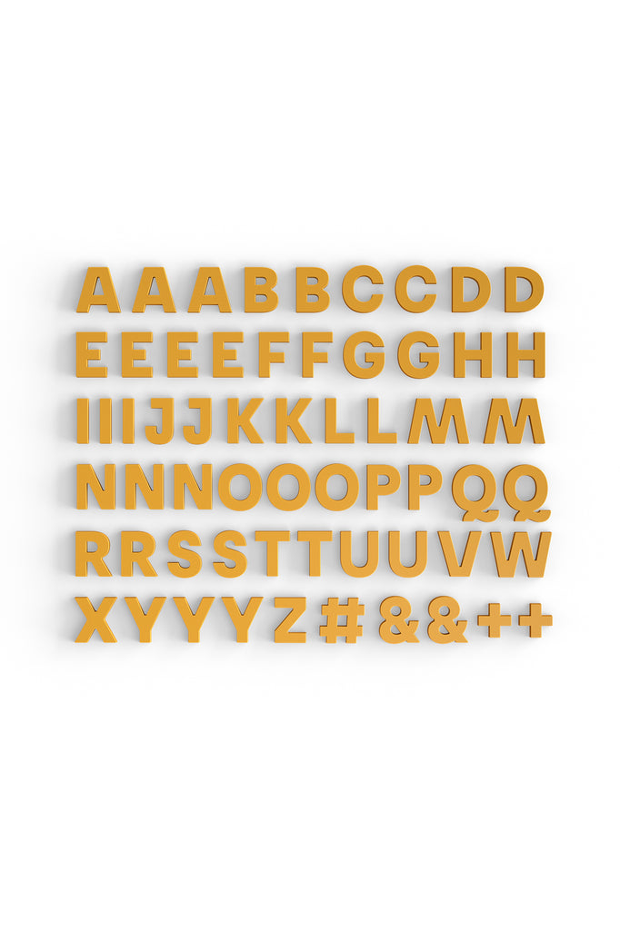 Alphabet Magnets in Mustard