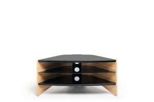 Riva Corner  Light Oak Veneer Black Glass shelves