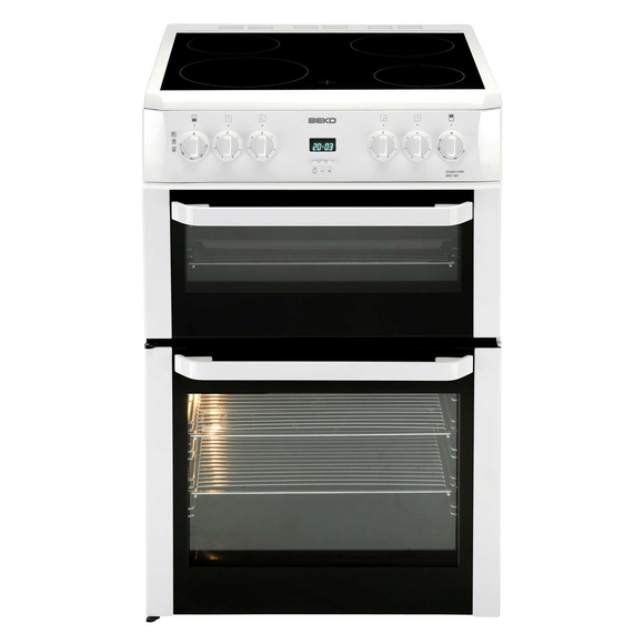 Beko Double Oven 60cm Electric Cooker With Ceramic Hob – White (BDVC664W)