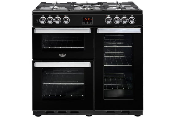 Belling Cookcentre 90cm Dual Fuel Range Cooker - Black | 90DFTBLK