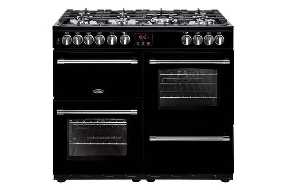 Belling Farmhouse 100cm Dual Fuel Range Cooker - Black | FH100DFTBK