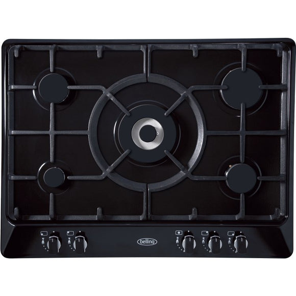 Belling (GHU70GCMK2BLKPL) 5 Burner Gas Hob in Black Sterling