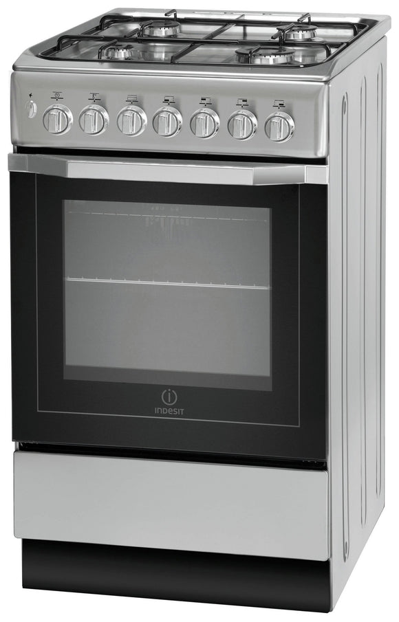 Indesit (I5GSH1S) Dual Fuel Cooker - 50cm, Silver