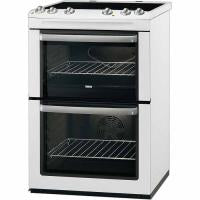 Zanussi Double Oven Electric Cooker With Ceramic Hob - White (ZCV668MW)