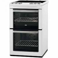 Zanussi Double Oven Electric Cooker With Ceramic Hob - White (ZCV554MW)