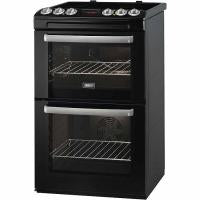 Zanussi Double Oven Electric Cooker with Ceramic Hob - Black (ZCV551MNC)