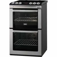 Zanussi Double Oven Electric Cooker With Ceramic Hob - Stainless Steel (ZCV551MXC)