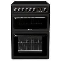 Hotpoint Newstyle Double Oven 60cm Electric Cooker With Ceramic Hob – Black (HAE60PS)