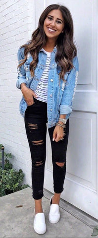 denim jacket and jeans ideas for fall