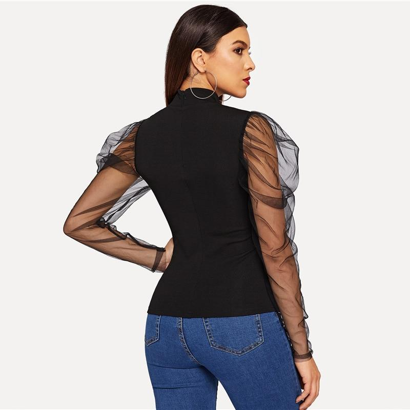 'Sophia' Black Mesh Top