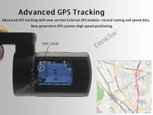 Load image into Gallery viewer, Advanced GPS tracking Dual Lens Dash Camera