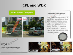 Dual Lens Dashcam cpl filter included