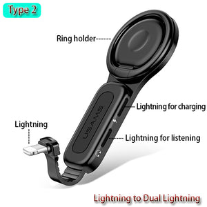 2-in-1 Dual Lightning Adapter with audio jack option