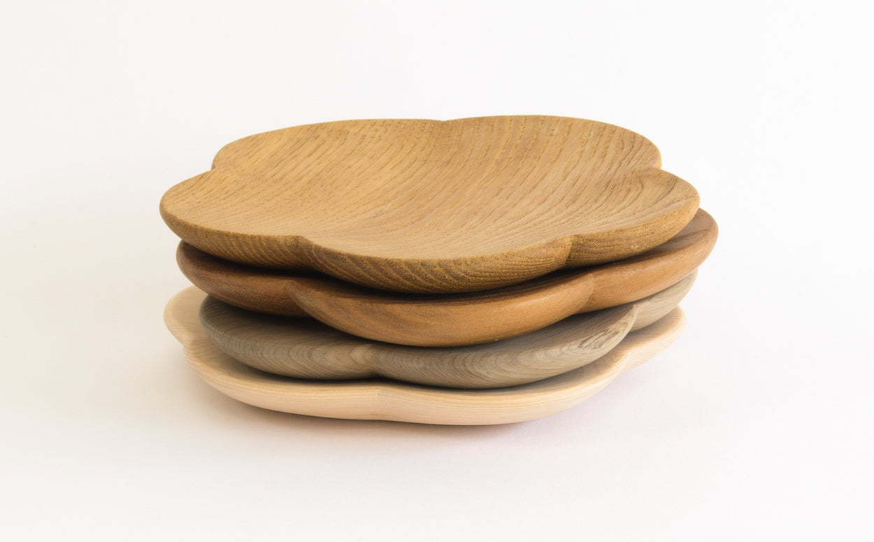 Japanese Wood Flower Dishes - Westward Home