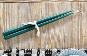 Green Hand Dipped Taper Candles