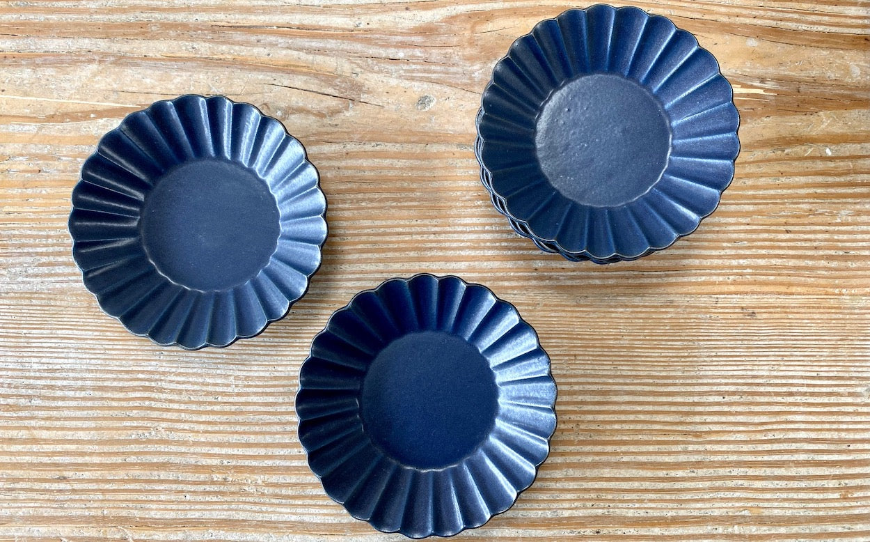 Marumitsu Poterie Barbarie Blue Side Plate