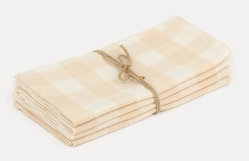 Cream Gingham Napkins - Westward Home
