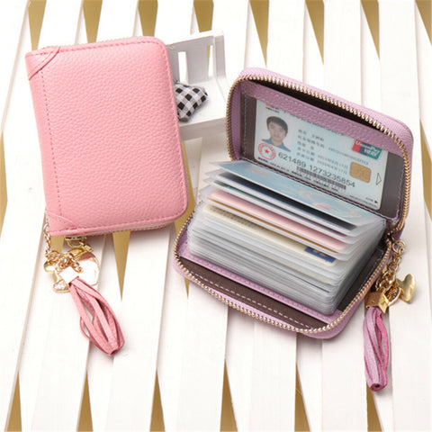 Women Business Zipper 60/90 Card Slots Holder Purse Wallet Mini Bag