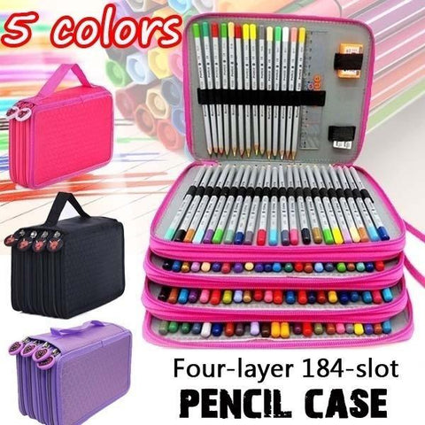 NEW 184 Slots Colored Pencil Case Large Capacity Soft Pencil Organizer Bag
