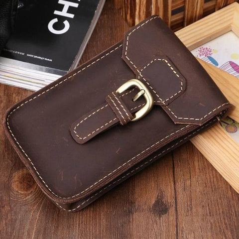 Men's Handmade Vintage Solid Phone Waist Pack