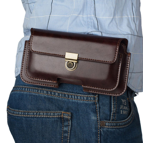 Mens Universal Belt Clip Holster Retro Dual Pouch Waist Bag