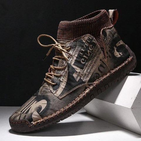 Camouflage Printed Fashion Men Ankle Boots