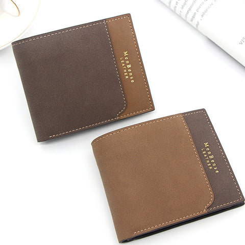 Men's Splicing Retro Youth Ultra-thin Cross-section Short Wallet