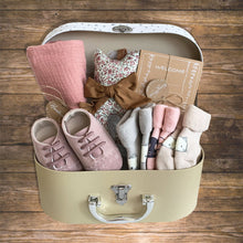 Load image into Gallery viewer, Baby Gift Hamper My First Step Baby shoes socks swaddle milestones cards