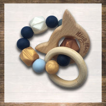 Load image into Gallery viewer, Baby Teether for Boy Natural Wood and Safe Silicone Hong Kong NinyMini