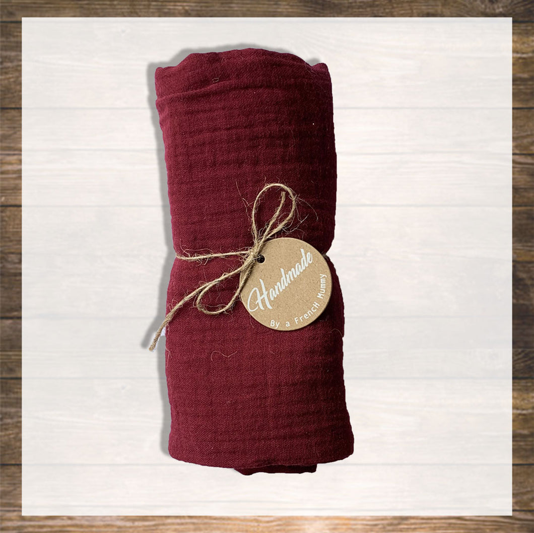 Personalized Baby Name Swaddle Blanket Burgundy Baby Boy and Girl Handmade Hong kong Ninymini
