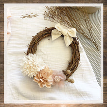 Load image into Gallery viewer, Wreath rattan and flower nursery room decor for girl handmade Hong Kong NinyMini