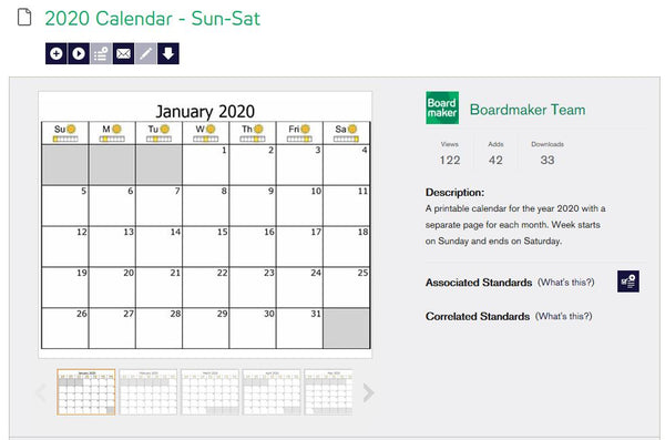 Boardmaker 2020 calendar - Sunday/Saturday