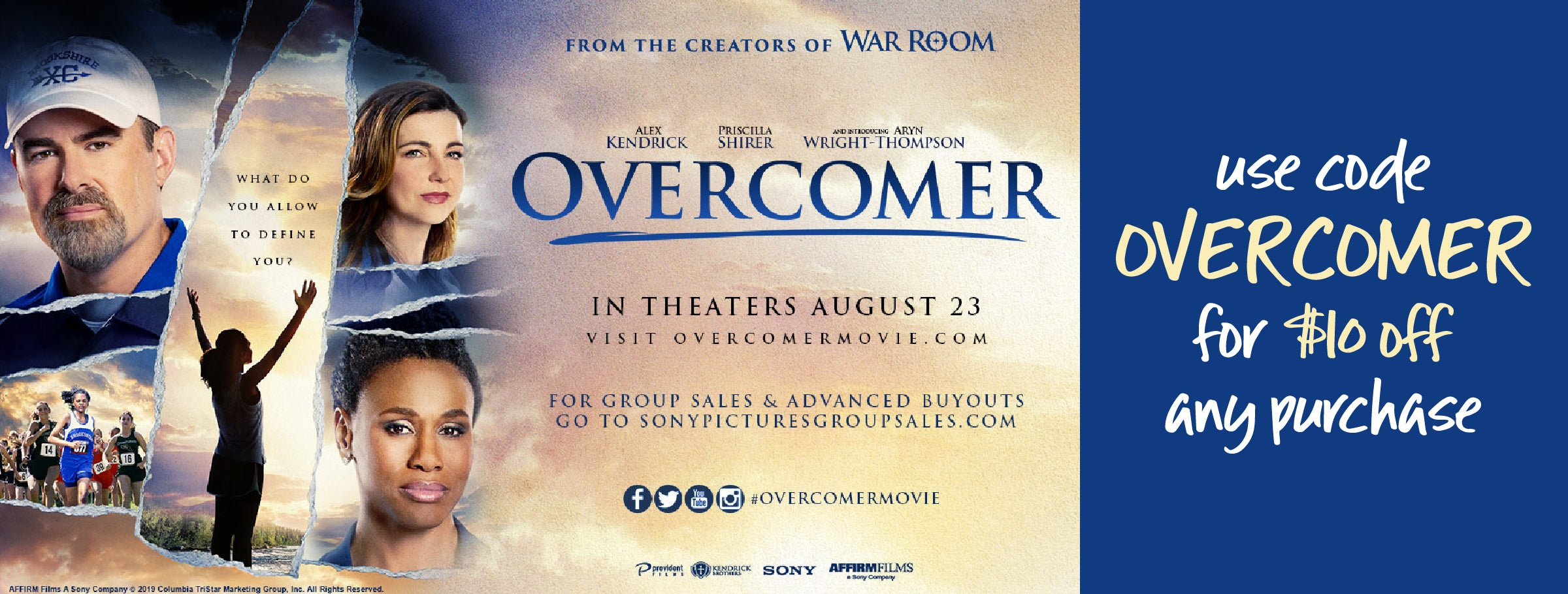 $10 off any purchase with code OVERCOMER