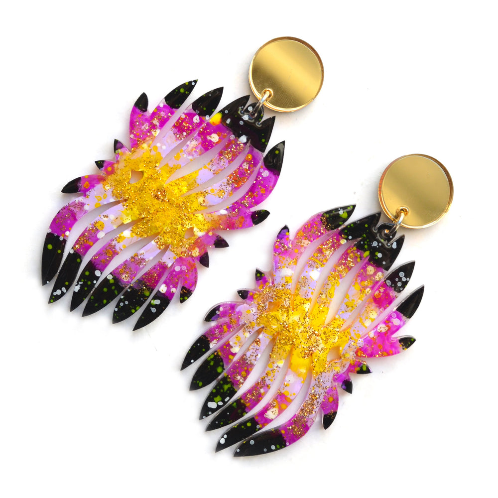 Black and Purple Galaxy Flower Leaf Acrylic Laser Cut Earrings