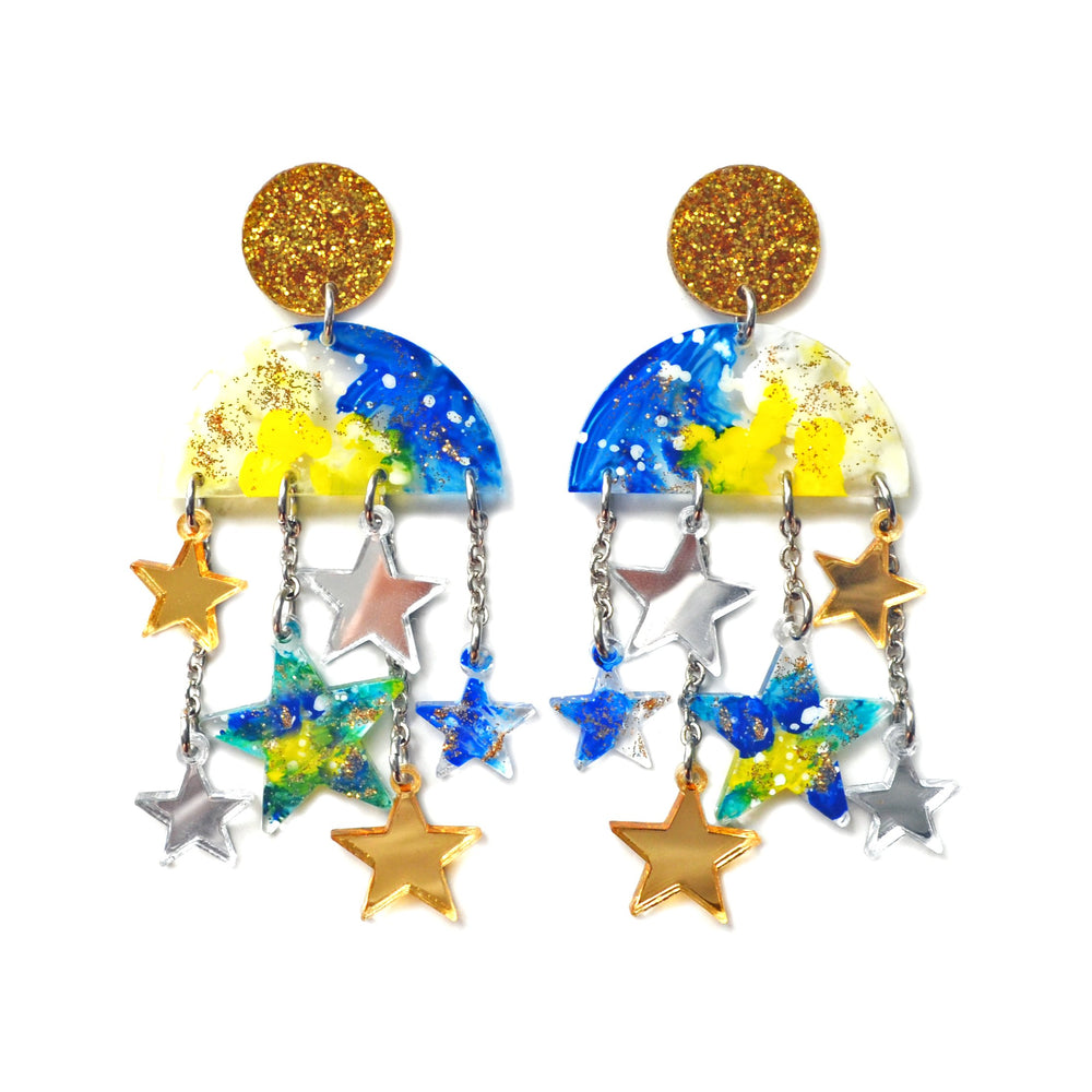 Cloud Moon and Star Dangle Chain Statement Laser Cut and Resin Earrings
