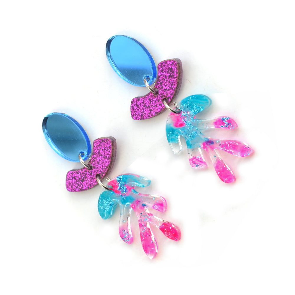 Blue and Pink Glitter Acrylic Leaf Small Dangle Earrings, Laser Cut Jewelry