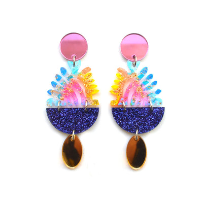 Rainbow Hanging Planter Glitter Acrylic Laser Cut Earrings