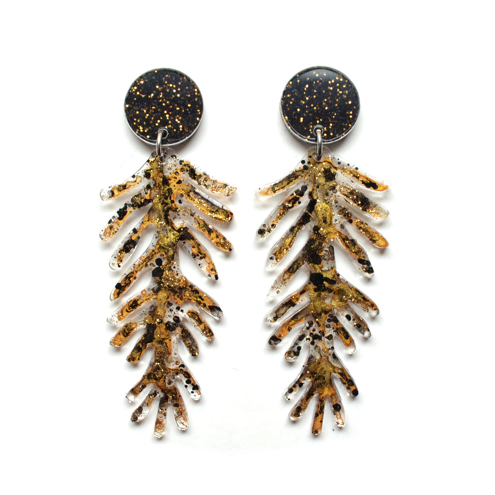 Black and Gold Marbled Leaf Earrings in Resin and Glitter